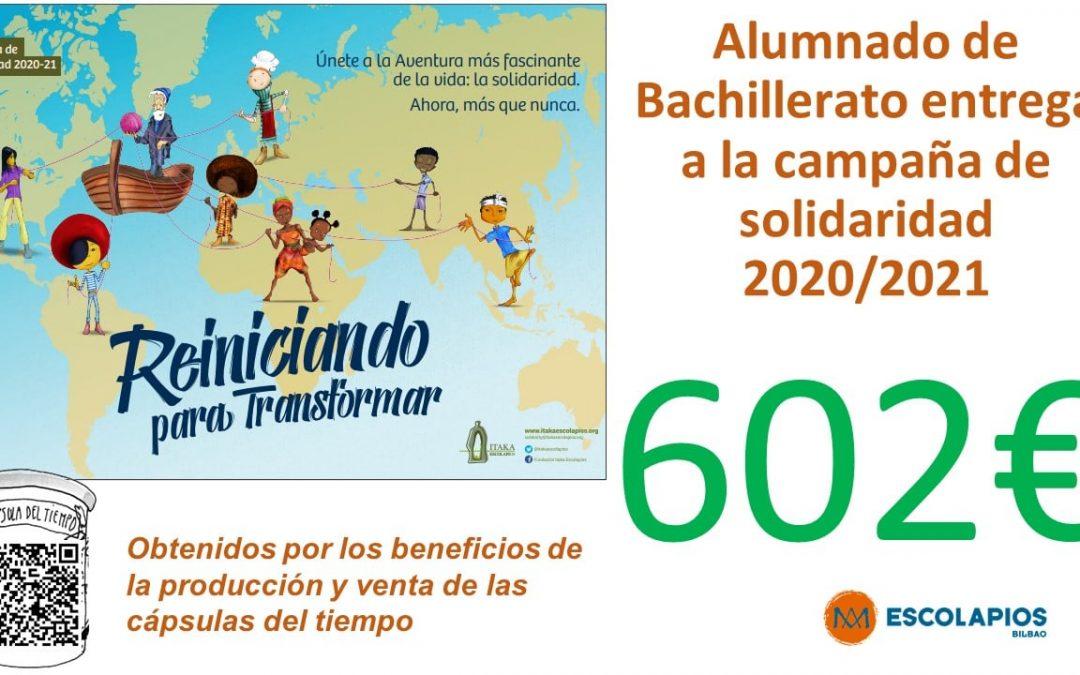 ALUMNADO DE BACHILLERATO ENTREGA 602€ A LA CAMPAÑA DE SOLIDARIDAD
